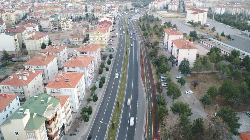 Nevşehir Zübeyde Hanım Caddesi bisiklet ve yürüyüş yolu